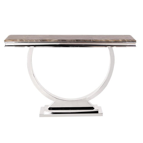 Howard Elliott Stainless Steel Console Table w/Stone Top