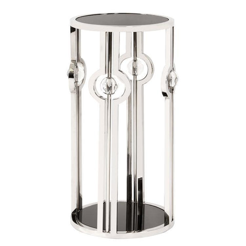 Howard Elliott Stainless Steel Pedestal w/Black Tempered Glass & Acrylic Ball Details-Small
