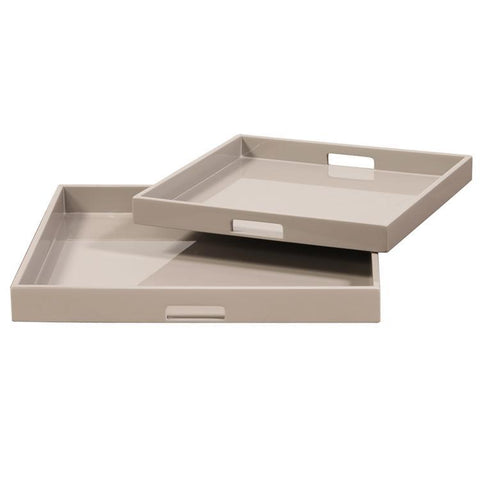 Howard Elliott Taupe Lacquer Square Wood Tray Set