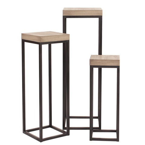 Howard Elliott Wood & Metal Pedestals - Set of 3