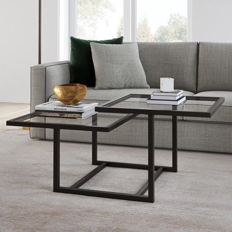 Hudson & Canal Amalie Two Tier Blackened Bronze Coffee Table