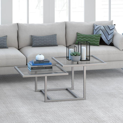 Hudson & Canal Amalie Two Tier Satin Nickel Coffee Table