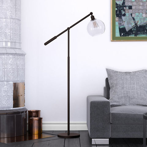 Hudson & Canal Atticus Brass and Blackened Bronze Floor Lamp
