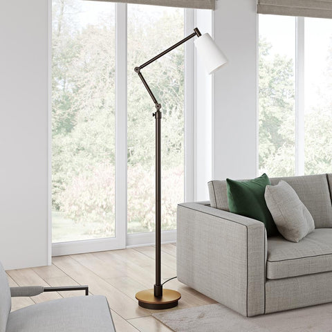 Hudson & Canal Caleb Brass and Matte Black Floor Lamp
