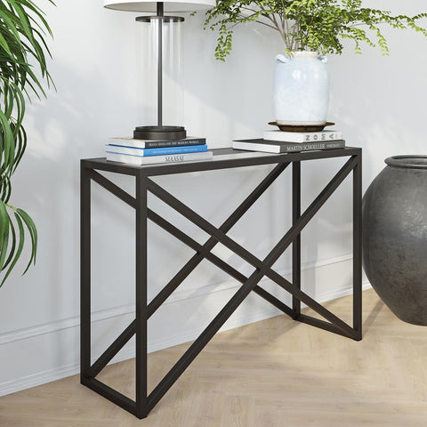 Hudson & Canal Calix Console Table in Blackened Bronze
