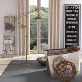 Hudson & Canal Descartes Brushed Brass Wide Brim Floor Lamp with Pulley System