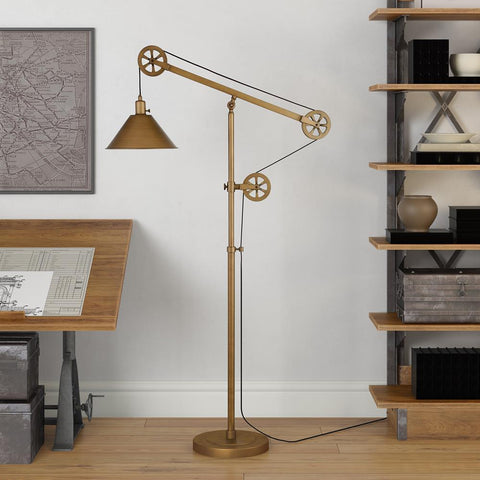 Hudson & Canal Descartes Floor Lamp in Antique Brass with Pulley System