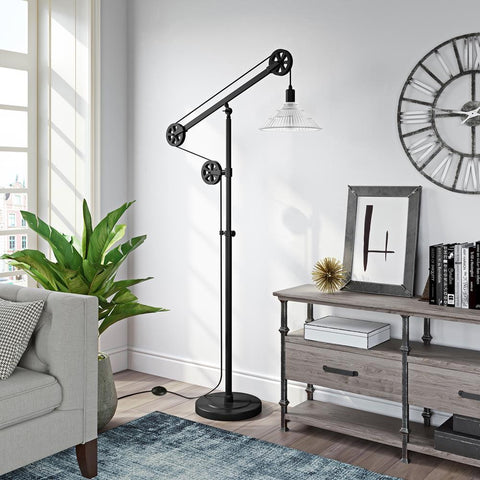 Hudson & Canal Descartes Floor Lamp in Blackened Bronze Finish with Pulley System and Ribbed Glass Shade