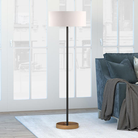 Hudson & Canal Estella Matte Black and Brass Floor Lamp with Linen Shade