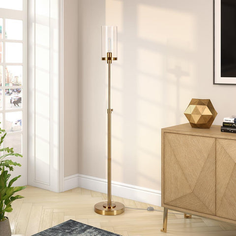 Hudson & Canal Frieda Brass Finish Floor Lamp Clear Glass