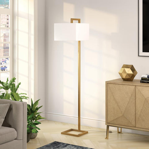Hudson & Canal Grayson Brass Finish Floor Lamp  Fabric Shade