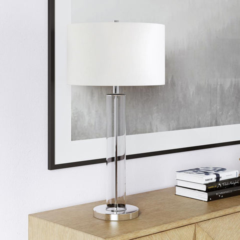 Hudson & Canal Harlow Polished Nickel and Clear Glass Table Lamp