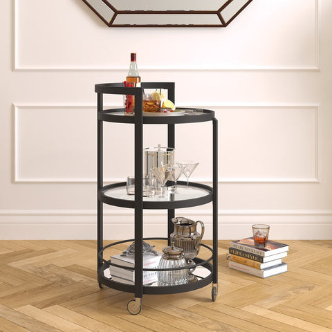 Hudson & Canal Hause mirrored bar cart in blackened bronze