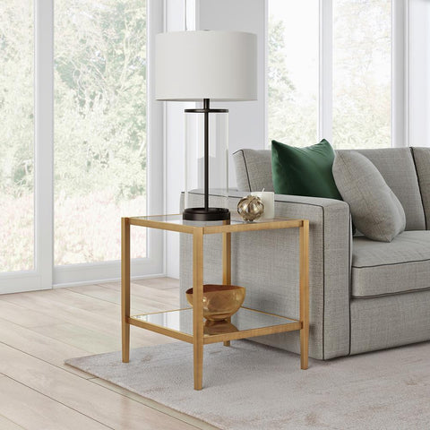 Hudson & Canal Hera Side Table Antique brass finish