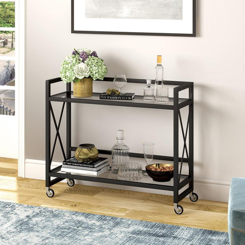 Hudson & Canal Holly Bar Cart in Blackened Bronze