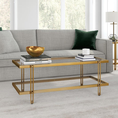 Hudson & Canal Inez Coffee Table Brass finish