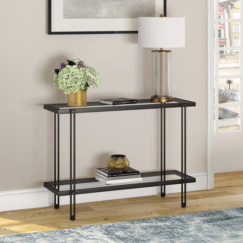 Hudson & Canal Inez Console Table Blackened Bronze Finish