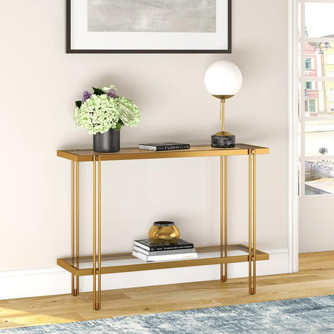 Hudson & Canal Inez Console Table in Brass Finish