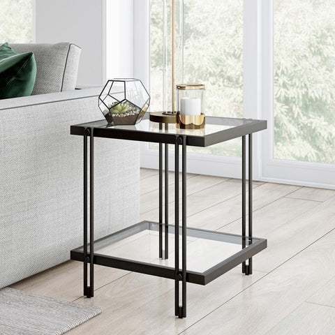 Hudson & Canal Inez Side Table Blackened bronze finish