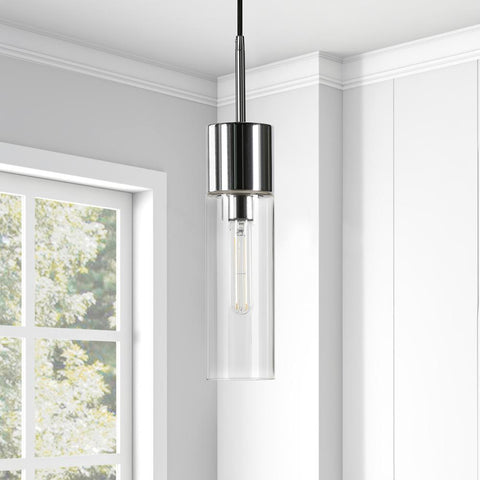 Hudson & Canal Lance Polished Nickel Metal and Glass Pendant