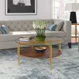 Hudson & Canal Ludo coffee table in gold with walnut shelf