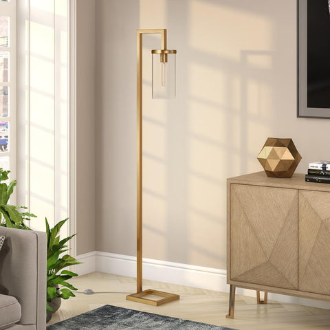 Hudson & Canal Malva Brass finished Floor Lamp with Clear Glass
