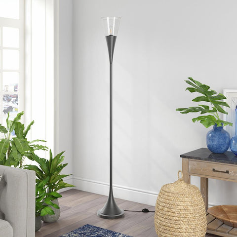 Hudson & Canal Moura torchier floor lamp in aged steel