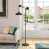 Hudson & Canal Neo Blackened Bronze Pully Floor Lamp