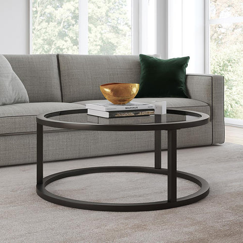 Hudson & Canal Parker Round Coffee Table in Blackened Bronze Finish