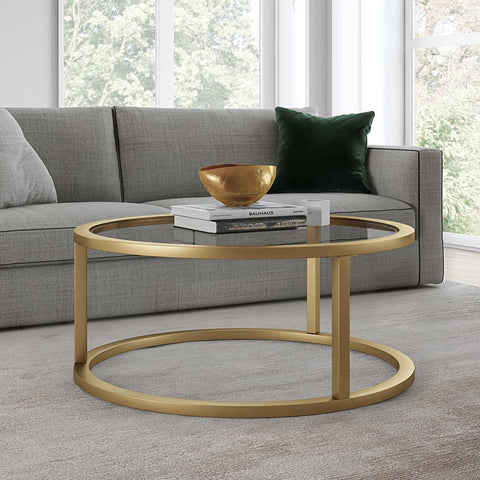 Hudson & Canal Parker Round Coffee Table in Brass Finish