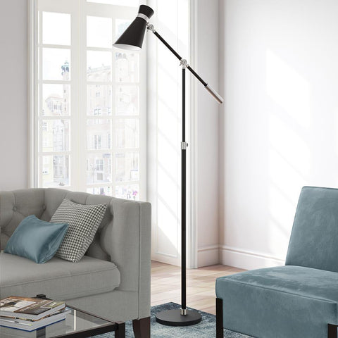 Hudson & Canal Rex Floor Lamp in Black and Brushed Nickel