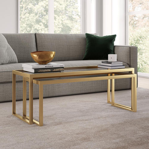 Hudson & Canal Rocco Nested Coffee Tables in Brass Finish