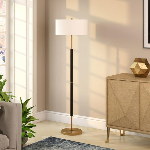 Hudson & Canal Simone Matte Black and Brass Floor Lamp