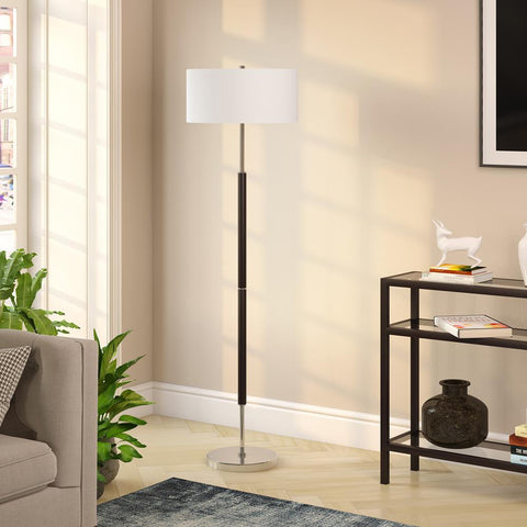Hudson & Canal Simone Matte Black and Polished Nickel Floor Lamp