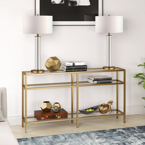 Hudson & Canal Sivil Brass Console Table