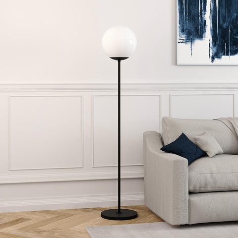 Hudson & Canal Theia Globe & Stem Floor Lamp in Blackened Bronze