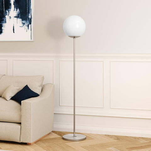 Hudson & Canal Theia Globe & Stem Floor Lamp in Brushed Nickel Finish