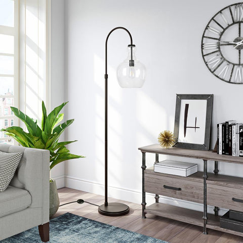 Hudson & Canal Verona Arc Blackened Bronze Floor Lamp with Clear Glass Shade