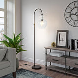 Hudson & Canal Verona Arc Blackened Bronze Floor Lamp with Seeded Glass Shade