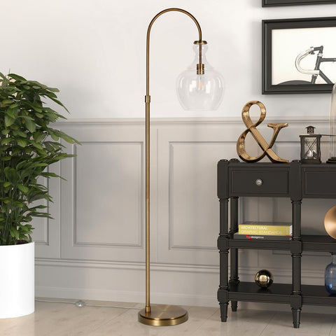Hudson & Canal Verona Arc Brass Floor Lamp with Clear Glass Shade