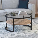 Hudson & Canal Winston Round Coffee Table in Blackened Bronze with Limed Oak Shelf