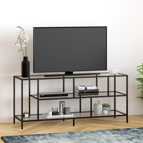 Hudson & Canal Winthrop TV Stand with Glass Shelves in Blackened Bronze Finish