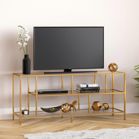 Hudson & Canal Winthrop TV Stand with Glass Shelves in Brass Finish
