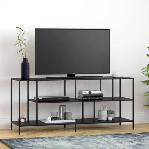 Hudson & Canal Winthrop Three Shelf TV Stand in Blackened Bronze