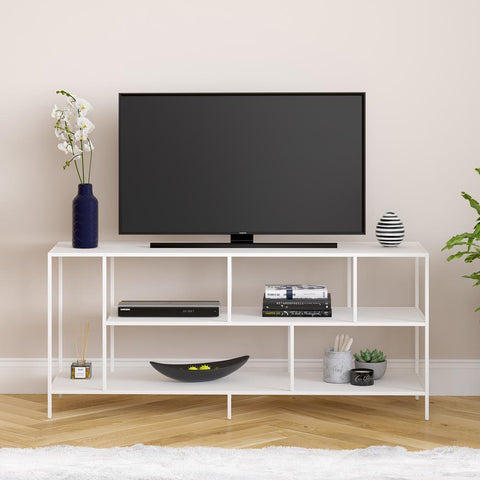 Hudson & Canal Winthrop Three Shelf TV Stand in White Matte