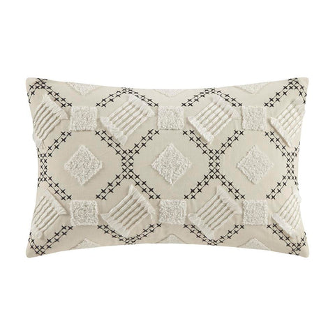 INK+IVY Chaaya Cotton Embroidered Oblong Pillow Oblong