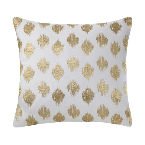 INK+IVY Nadia Dot Embroidered Square Pillow In Gold