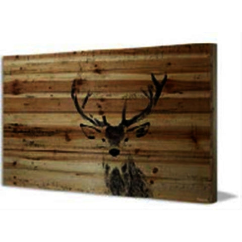 Inquisitive Deer Painting Print On Natural Pine Wood