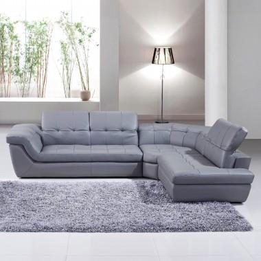J&M 397 Italian Leather Sectional In Grey