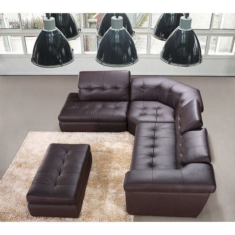 J&M Furniture 397 Italian Leather Sectional in Chocolate